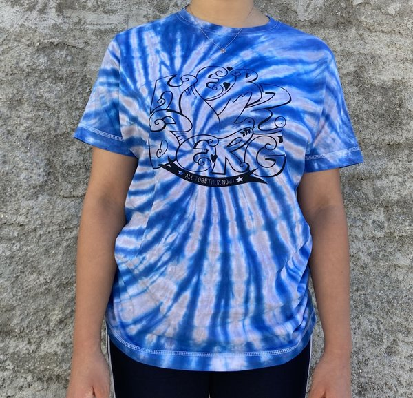 "Tie-Dye  Tshirts  ""Together by Heart"" grau/blau gestreift"